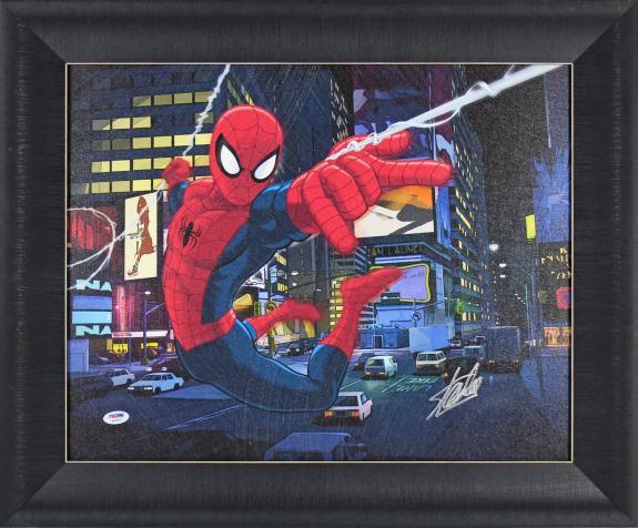 Stan Lee Spider-Man Signed 16x20 Framed Canvas PSA/DNA #W18547
