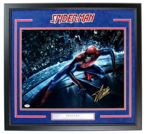 Stan Lee Spiderman Signed 16x20 Photo Framed PSA/DNA 148407