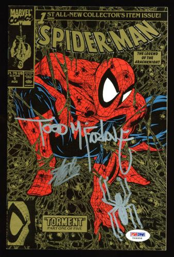 Stan Lee & Todd McFarlane Signed Spider-Man 1990 Torment #1 Comic W/ Sketch PSA