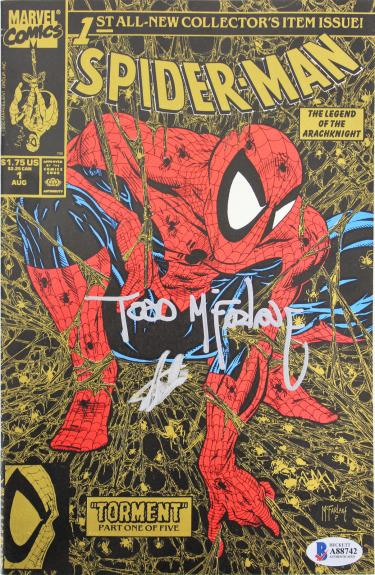 Stan Lee & Todd McFarlane Signed Spider-Man Torment 1990 Gold Comic BAS #A88742