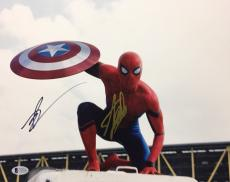 Stan Lee & Tom Holland Signed 11x14 Spider-Man Photo *Captain America BAS C16190