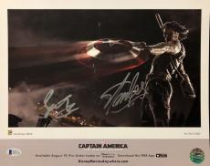 Stan Sebastian & Stan Lee Signed Captain America 11x14 Photo BAS/Lee Hologram
