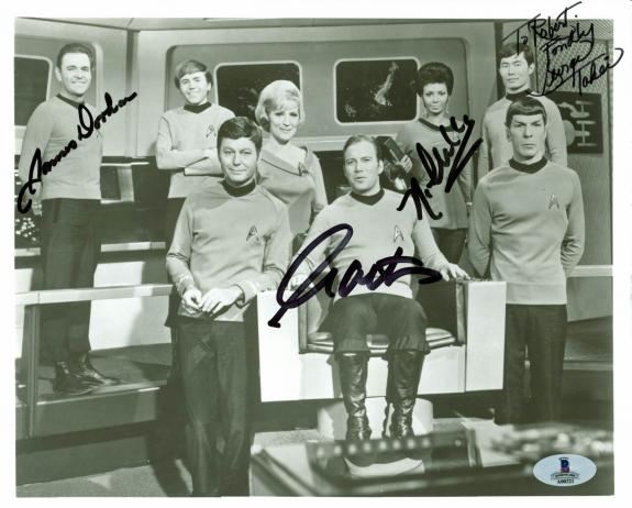 Star Trek (4) Shatner, Nichols, Takei +1 Signed 8x10 Vintage Photo BAS #A00321