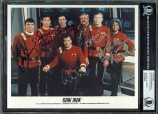 Star Trek (7) Shatner, Doohan, Takei, Nimoy Signed 8X10 Publicity Photo BAS Slab