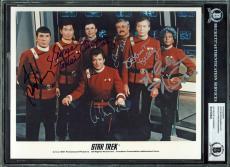 Star Trek (7) Shatner, Doohan, Takei, Nimoy Signed 8X10 Publicity Photo BAS Slab
