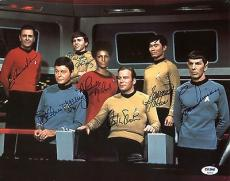 Star Trek Cast (7) William Shatner, Leonard Nimoy Signed 11X14 Photo PSA AB04416