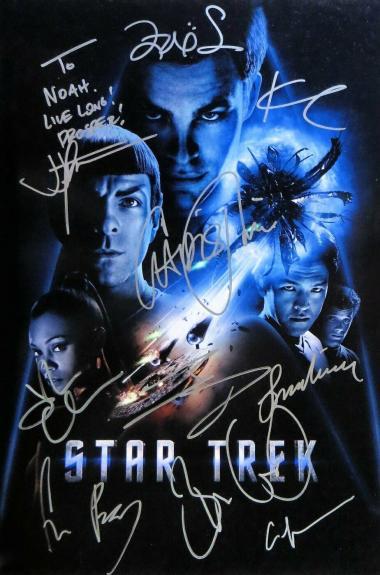 Star Trek Cast Signed Autographed 12X18 Photo Leonard Nemoy Pine Abrams  JSA COA