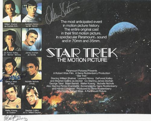 "STAR TREK"" Signed by WILLIAM SHATNER as CAPTAIN KIRK, GEORGE TAKEI as SULU, and WALTER KOENIG as CHEKOV - 11x8.5 Color Paper Thin"