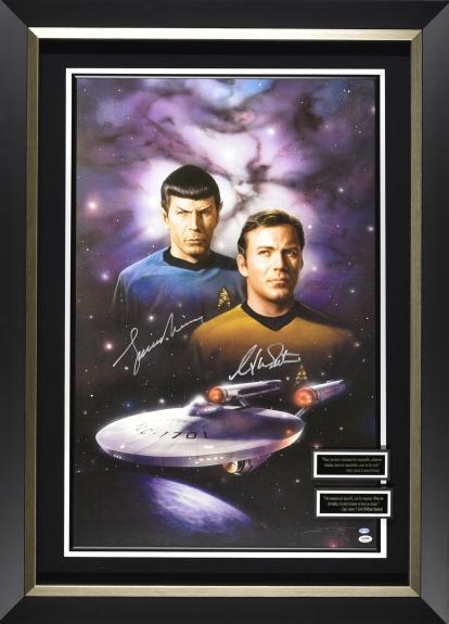 Star Trek – William Shatner & Leonard Nimoy signed poster display. Framed