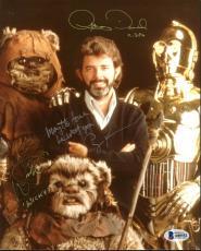 Star Wars (3) George Lucas, Anthony Daniels, Warwick Davis Signed 8X10 Photo BAS