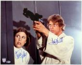 Star Wars Carrie Fisher & Mark Hamill Signed 16X20 Photo BAS #A80837