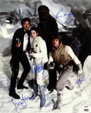 Star Wars Cast (4) Ford, Fisher, Hamill & Mayhew Signed 16x20 Photo PSA #AB14379