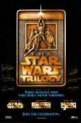 """Star Wars Cast Autographed  24"""" x 36"""" Trilogy Movie Poster with 7 Signatures - PSA/DNA LOA"""