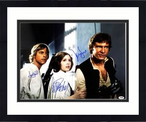 STAR WARS Cast (FORD, FISHER & HAMILL) Signed 16x20 Photo Graded PSA/DNA 10