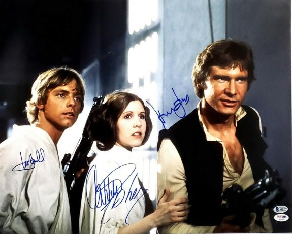 STAR WARS Cast (FORD, FISHER & HAMILL) Signed 16x20 Photo PSA/DNA & Beckett BAS