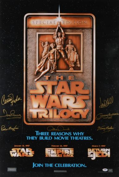 Star Wars Cast Framed Autographed Movie Poster with 8 Signatures - Damaged - PSA/DNA