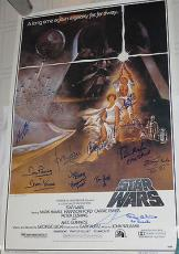 STAR WARS CAST George Lucas Harrison Ford C Fisher + Signed Movie POSTER PSA DNA
