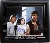Star Wars Cast Signed 16x20 Photo Framed Ford Fisher Hamill Psa/dna Ab14320