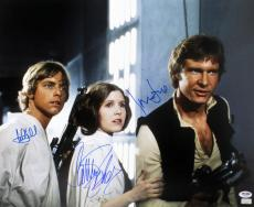 Star Wars Cast Signed Autographed 16x20 Photo Ford Fisher Hamill Psa/dna Ab14334