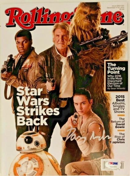 Star Wars Daisy Ridley Signed Rolling Stone Magazine PSA DNA COA