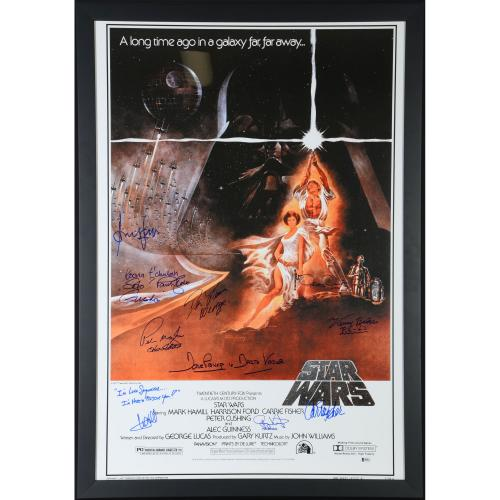 "Star Wars - Episode IV New Hope Framed Autographed 30"" x 42"" Classic Movie Poster with 10 Signatures - Beckett"
