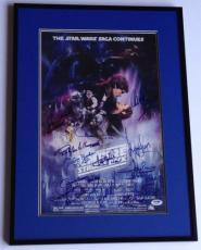 STAR WARS ESB CAST W/ George Lucas Harrison Ford + SIGNED Movie POSTER PSA DNA