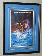 STAR WARS ESB CAST W/ George Lucas Harrison Ford + SIGNED Movie POSTER PSA DNA