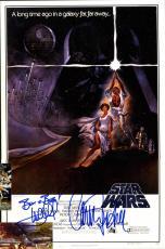 Star Wars Mark Hamill Carrie Fisher Luke Skywalker Princess Leia Signed Poster A