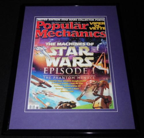 Star Wars Phantom Menace Framed 11x14 ORIGINAL 1999 Popular Mechanics Cover