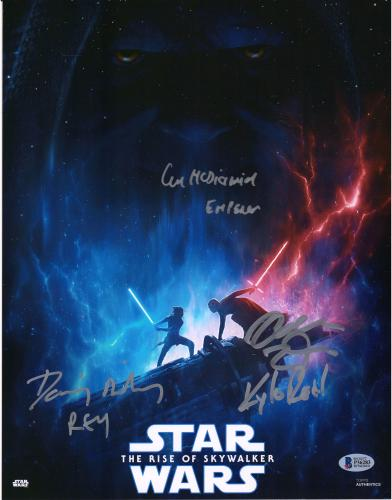 """Star Wars Rise of Skywalker Cast Autographed 11"""" x 14"""" Movie Poster with 3 Signatures - BAS"""
