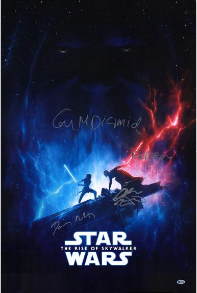 """Star Wars Rise of Skywalker Cast Autographed 24"""" x 36"""" Movie Poster with 3 Signatures - BAS"""