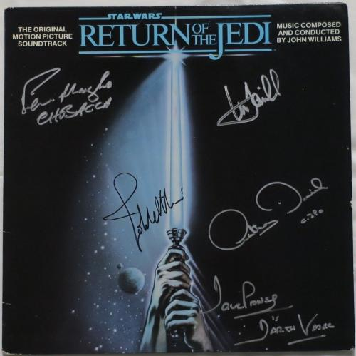Star Wars Signed Jedi Williams/Hamill +3 Autographed Album Cover PSA/DNA#AD00692