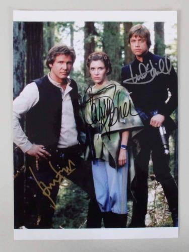 Star Wars Signed Photo Harrison Ford, Carrie Fisher, Mark Hamill Return of the Jedi – COA PSA/DNA