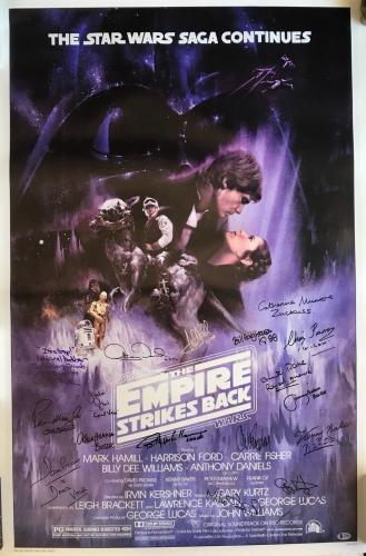 Star Wars signed poster esb cast carrie fisher mark hamill g. lucas k baker psa
