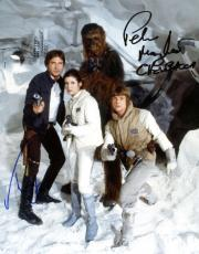 Star Wars TESB Harrison Ford Peter Mayhew Signed 8x10 Photograph Beckett BAS
