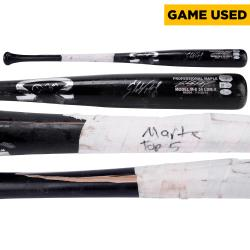 Starling Marte Pittsburgh Pirates Autographed Game-Used Black Dinger Broken Bat