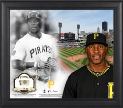 """Starling Marte Pittsburgh Pirates Framed 15"""" x 17"""" Mosaic Collage with Game-Used Baseball-Limited Edition of 99"""