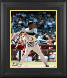 "Starling Marte Pittsburgh Pirates Framed Autographed 16"" x 20"" Grey Jersey Hitting Photograph"