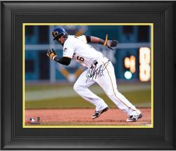 """Starling Marte Pittsburgh Pirates Framed Autographed 16"""" x 20"""" White Jersey Running Photograph"""