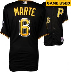 Starling Marte Pittsburgh Pirates Game-Used Black Jersey from 9/19/14 vs. Milwaukee Brewers