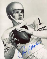 Roger Staubach Dallas Cowboys Autographed 8'' x 10'' Black and White Close Up Photograph