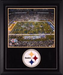 2005 Pittsburgh Steelers Super Bowl XL Deluxe Framed Autographed 20'' x 24'' with 25 Signatures with Suede