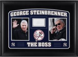 """George Steinbrenner New York Yankees Deluxe Horizontal Framed Collectible with 2.5"""" x 3.5"""" Autographed Cut"""