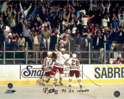 """Stephane Matteau New York Rangers Autographed Goal Celebration 16"""" X 20"""" Photograph with 1994 SC Champs Inscription"""