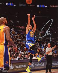 "Stephen Curry Golden State Warriors Autographed Jumper on Carlos Boozer 08"" x 10"" Photograph"