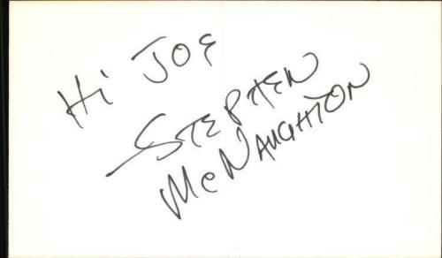 "STEPHEN MCNAUGHTON THE EDGE OF NIGHT Signed 3""x5"" Index Card"