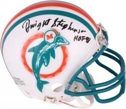 Dwight Stephenson Miami Dolphins Autographed Riddell Mini Helmet with HOF 98 Inscription - Mounted Memories