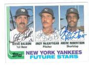 Steve Balboni, Andy McGaffigan & Andre Roberton autographed baseball card (New York Yankees) 1982 Topps