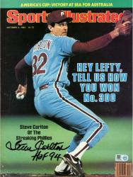 "Steve Carlton Philadelphia Phillies Autographed Hey Lefty, Tell Us How You Won No. 300 Sports Illustrated Magazine with ""HOF"" Inscription"
