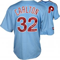 "Steve Carlton Philadelphia Phillies Autographed Majestic Blue Replica Jersey with ""HOF 94"" Inscription"